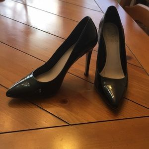 Black patent pointed Vince Camuto heels